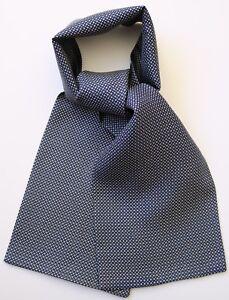 "Gun metal grey & blue hand printed silk cravat 40"" X 6"" New, hand made in UK"