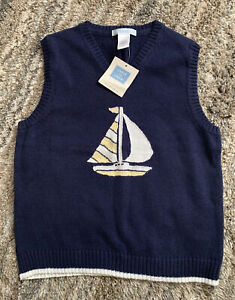 Janie and Jack Nwt Boys Boat Sweater Vest 5 $39