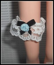 LINGERIE BARBIE DOLL VERA WANG WHITE BLUE FLOWER GARTER ACCESSORY CLOTHING