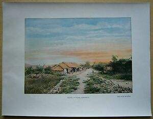 ca.1895 French photochrom VIETNAM: VILLAGE IN COCHINCHINA (#567)