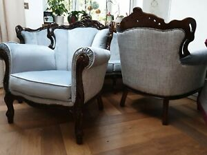French louis sofa 3 seater +2, antique, after renovation, hand carved ornaments