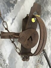 Vintage Trap Victor D Coil Spring Double Jaw With 10' Of Drag Chain & Hook