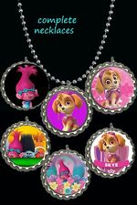 paw patrol skye & trolls  BottleCap Necklaces  party favors lot of 20 reserved