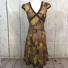 Anthropologie Maeve Brown Floral Print Sheer Cap Sleeve Silk Cotton Dress 6 B32