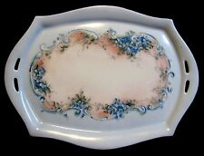 Antique Art Nouveau Ct Carl Tielsch Porcelain Pastel Vanity Tray Floral 1909-30