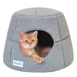 2 in 1 Covered Cat Bed for Indoor Cats Pet Sofa Cat Condo Pet Igloo Cave House