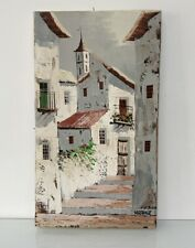 Vintage Original Oil Painting SPANISH VILLAGE SCENE - Spain