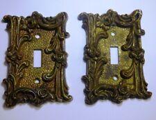 2 Vtg Heavy Cast Solid Brass Single Switchplate Ornate Rose Pattern Spain 1505