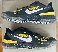 New Nike Alpha Huarache  Elite 3 PRM Turf Shoes CV3561-001, Black/Gold Men's 11