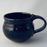Studio Pottery Coffee Teacup Mug Artist Made Signed Wheel Thrown Brown Stoneware