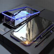 360° Magnet Slim Metall Case Handy Hülle Glas Tasche Schutz Cover Schutzglas
