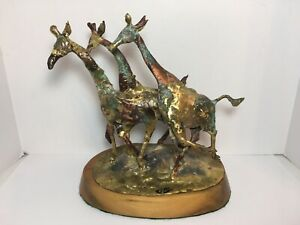 Bill Lett Creative Metals Brass Copper Sculpture 3 Giraffe Running 10.25""