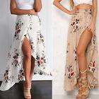 Boho Womens Floral Long Maxi Skirt Casual Summer High Split Beach Wrap Sun Dress
