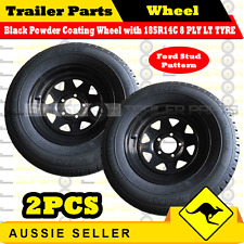 185R14C 8 PLY 14 inch Black Wheel Rim & Tyre x 2PCS Box Boat Trailer Caravan