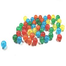 25 Perles rondes en verre craquelé 8mm multicolores