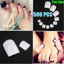 500pcs French False White Acrylic UV Gel Nail Art Toe Toenail Design Tips HOT