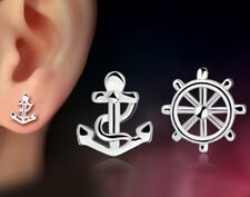 Retro Men Women Silvertone Anchor Sailing Ship Wheel Stud Earrings Gift Box K7