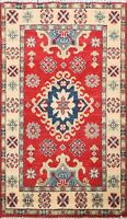 Geometric Traditional Super Kazak Oriental Area Rug Wool Hand-Made 2x3 ft Carpet