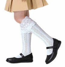 Niña Elegante Pelerine Escuela Calcetines por la rodilla de algodón blanco