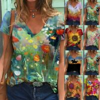Womens V Neck Short Sleeve T Shirt Casual Floral Printing Blouse Loose Comfy Top