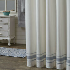 Summer Breeze Navy Stripe Off White Country Farmhouse Cotton Shower Curtain