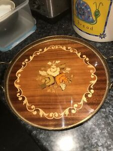 Vintage Sorrento Wooden Inlaid Marquetry Tray with Brass Gallery Rail & Handles