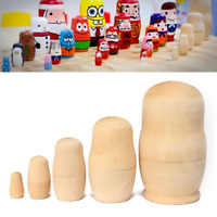 5pc DIY Wooden Unpainted Blank Russian Nesting Dolls Matryoshka Cartoon Toy Gift