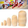 5pc DIY Wooden Unpainted Blank Russian Nesting Dolls Matryoshka Cartoon Toy Gift