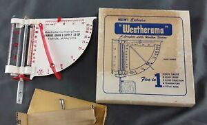 Vtg WEATHERAMA Advertising Thermometer Rain Gauge Wind Speed~ Fairfax Grain/Seed