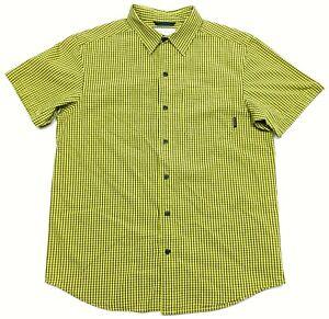 Columbia Sportswear Green Black Plaid Short Sleeve Button Up Shirt Mens Medium M