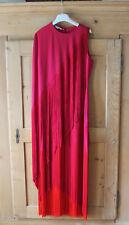 Stella McCartney Joelle Fringe Dress, PINK/RED Cape Sleeve, Sz 44IT, 6/8US, NWT