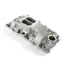 Aluminum Intake Manifold SBC 55-95 Dual Plane Air Gap Black   Chevy 350 383 400