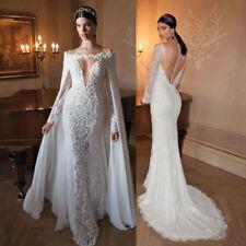 V Neck Bridal Gown Wedding Dress Custom Long Sleeve Lace Appliques Train +Cape