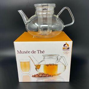 🔴 Teavana Musee de The Glass Teapot w/ Strainer & Lid 40oz Borosilicate Glass