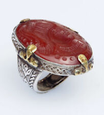 Natürliche Echtschmuck-Ringe im Siegelring-Stil mit Karneol-Hauptstein