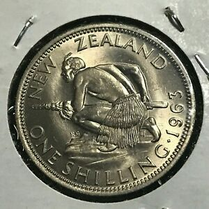1963 NEW ZEALAND ONE SHILLING BRILLIANT UNCIRCULATED COPPER NICKEL COIN