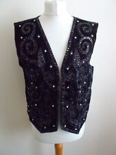 Women's Black Sequin Beads V Neck Waistcoat Vest By New Look Free Size