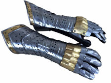 Gauntlet Gloves Armor Pair w/ Brass Accents/Medieval Knight Crusader/Steel