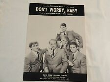 "THE BEACH BOYS ""Don't Worry Baby"" Original 1964 Sheet Music! NONE NICER ON eBAY!"