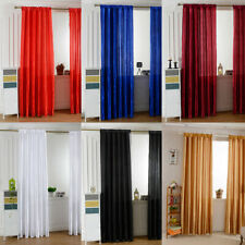 1pc Solid Color Satin Tulle Door Window Curtain Room Half Shading Drape Curtains