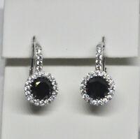 Echt 925 Sterling Silber Ohrringe Zirkonia schwarz crystal Hochzeit Nr 244
