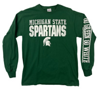 Jerzees Mens Michigan State University Spartans Football Green Sweatshirt Size M