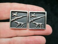 Authentic SWANK 1950's Silver Tone Men's Hunting, Gun, Dog Bird Cuff Links