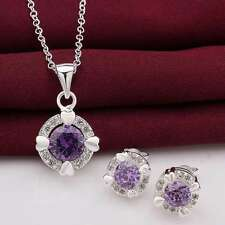 925Sterling Solid Silver Purple Crystal Heart Earrings Necklace Jewelry Sets