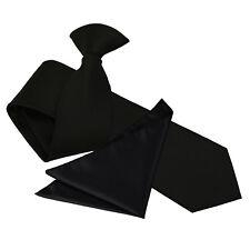 DQT Woven Plain Solid Check Black Formal Slim Clip On Tie & Hanky Set