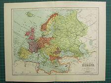 1904 Antiguo Mapa ~ Europa política ~ islas británicas España Francia Alemania Etc