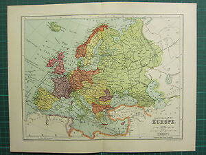 1904 ANTIQUE MAP ~ EUROPE POLITICAL ~ BRITISH ISLES SPAIN FRANCE GERMANY etc