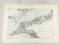 1881 Antique Military Map of The Solent River Isle of Wight Milford Haven Fort