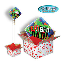 """Fathers Day 18"""" Diamond Foil Balloon in a Box Very Best Dad Gift Boxed."""