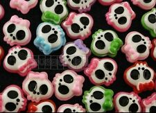 Free Shipping - 30pcs Tattoo Girly Skull Bow Flat Back Cabochons Halloween F721
